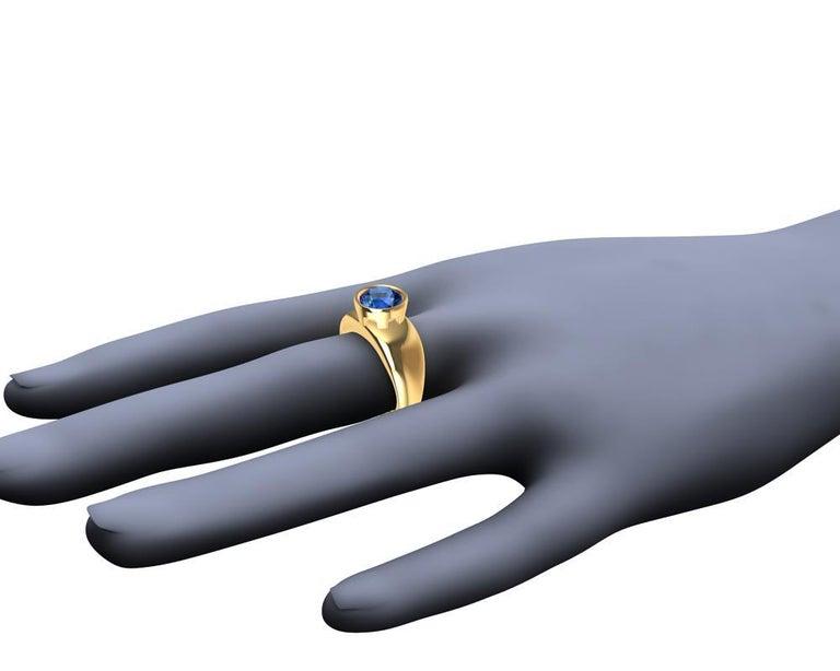For Sale: undefined 18 Karat Yellow Gold Round Blue Sapphire 2.69 Carat Sculpture Ring 11