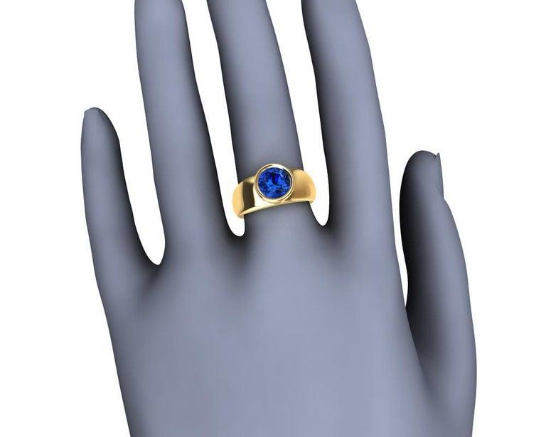 For Sale: undefined 18 Karat Yellow Gold Round Blue Sapphire 2.69 Carat Sculpture Ring 12