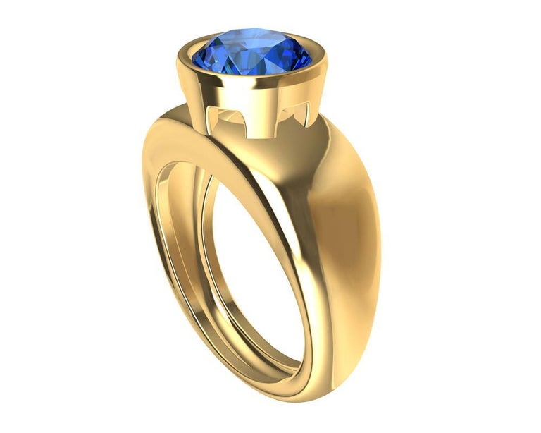 For Sale: undefined 18 Karat Yellow Gold Round Blue Sapphire 2.69 Carat Sculpture Ring 2