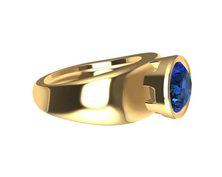 For Sale: undefined 18 Karat Yellow Gold Round Blue Sapphire 2.69 Carat Sculpture Ring 3