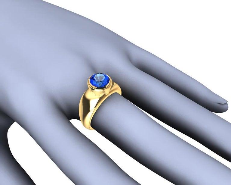 For Sale: undefined 18 Karat Yellow Gold Round Blue Sapphire 2.69 Carat Sculpture Ring 4