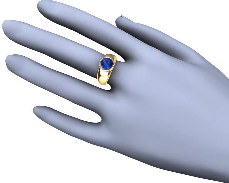 For Sale: undefined 18 Karat Yellow Gold Round Blue Sapphire 2.69 Carat Sculpture Ring 5