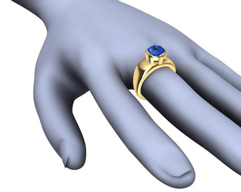 For Sale: undefined 18 Karat Yellow Gold Round Blue Sapphire 2.69 Carat Sculpture Ring 6