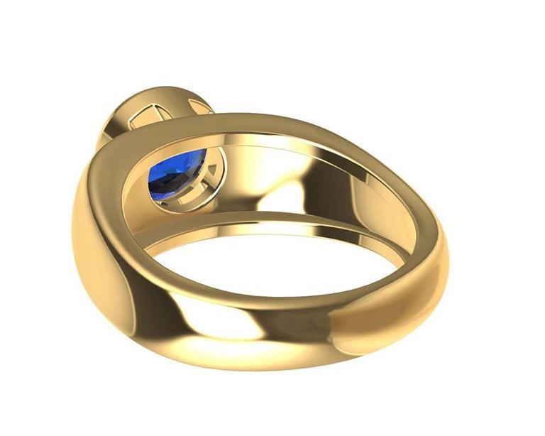 For Sale: undefined 18 Karat Yellow Gold Round Blue Sapphire 2.69 Carat Sculpture Ring 7