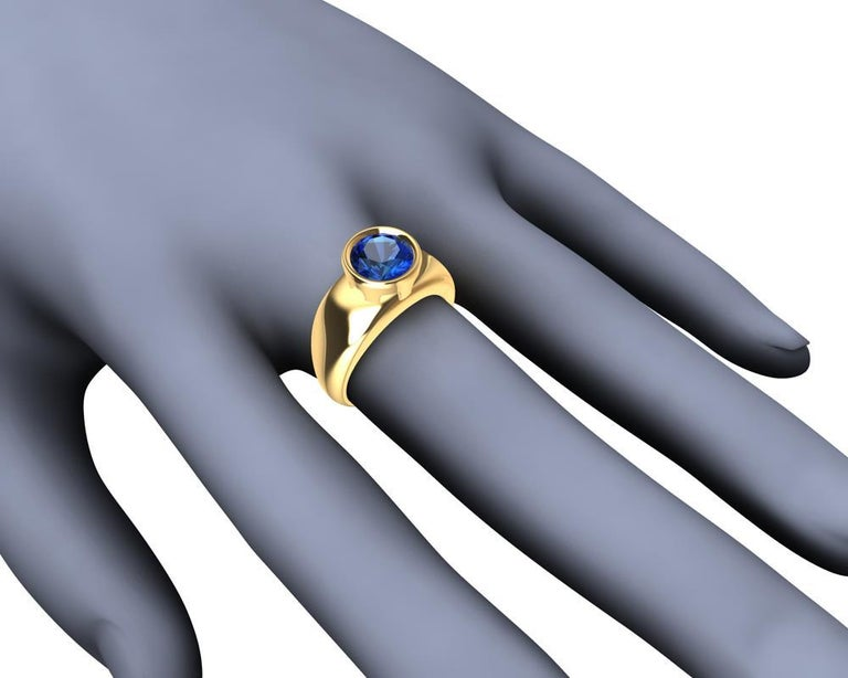 For Sale: undefined 18 Karat Yellow Gold Round Blue Sapphire 2.69 Carat Sculpture Ring 9