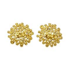 18 Karat Yellow Gold Round Bubble Medallion Stud Pierced Earrings with Diamonds