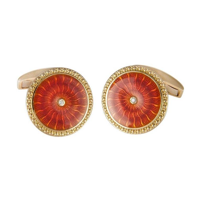 18 Karat Yellow Gold Round Cufflinks with Orange Enamel and Diamond Centre For Sale