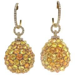 18 Karat Yellow Gold Round Dangle Citrine and Diamond Earrings