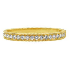 Roman Malakov 18 Karat Yellow Gold Round Diamond Bangle Bracelet