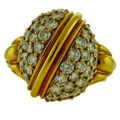 18 Karat Yellow Gold Round Diamonds Cocktail Ring