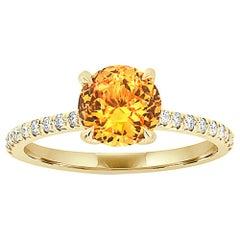 18 Karat Yellow Gold Round Orange Sapphire Ring GIA 'Center 1.61 ct.'