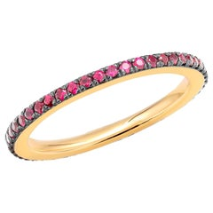 18 Karat Yellow Gold Round Ruby Eternity Band Black Rhodium