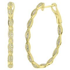 18 Karat Yellow Gold Round Single Cut Diamond Leaf Hoop Earring