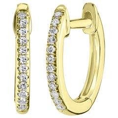 18 Karat Yellow Gold Round Single Cut Pave Diamond Hoop Earring