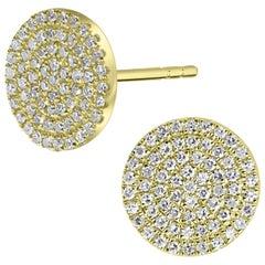 18 Karat Yellow Gold Round Single Cut Pave Diamond Round Stud Earrings