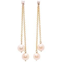 Ugolini 18Karat Yellow Gold White Pearls 0.16Karat White Diamond Dangle Earrings
