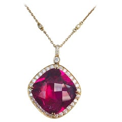 18 Karat Yellow Gold Rubellite and Diamond Pendant or Necklace