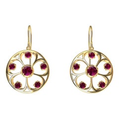 18 Karat Yellow Gold Rubies 5 Petal Flower Earrings