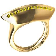 18 Karat Yellow Gold Rubies and Fancy Vivid Yellow Diamonds Cocktail Ring