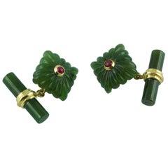 18 Karat Yellow Gold Rubies Jade Squared Cufflinks