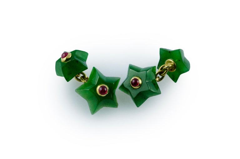 18 Karat Yellow Gold Rubies Jade Stars Cufflinks In New Condition For Sale In Milano, IT