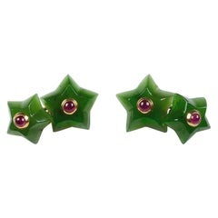18 Karat Yellow Gold Rubies Jade Stars Cufflinks