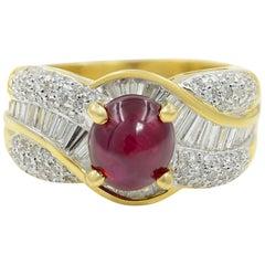 18 Karat Yellow Gold Ruby 2.48 Carat Baguette and Pave Diamond 0.98 Carat Ring