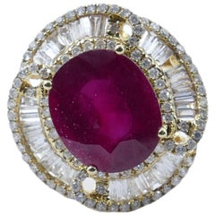 "18 Karat Yellow Gold Ruby and Baguette Diamond ""Ballerina"" Ring"