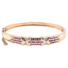 18 Karat Yellow Gold Ruby and Diamond Bangle Bracelet