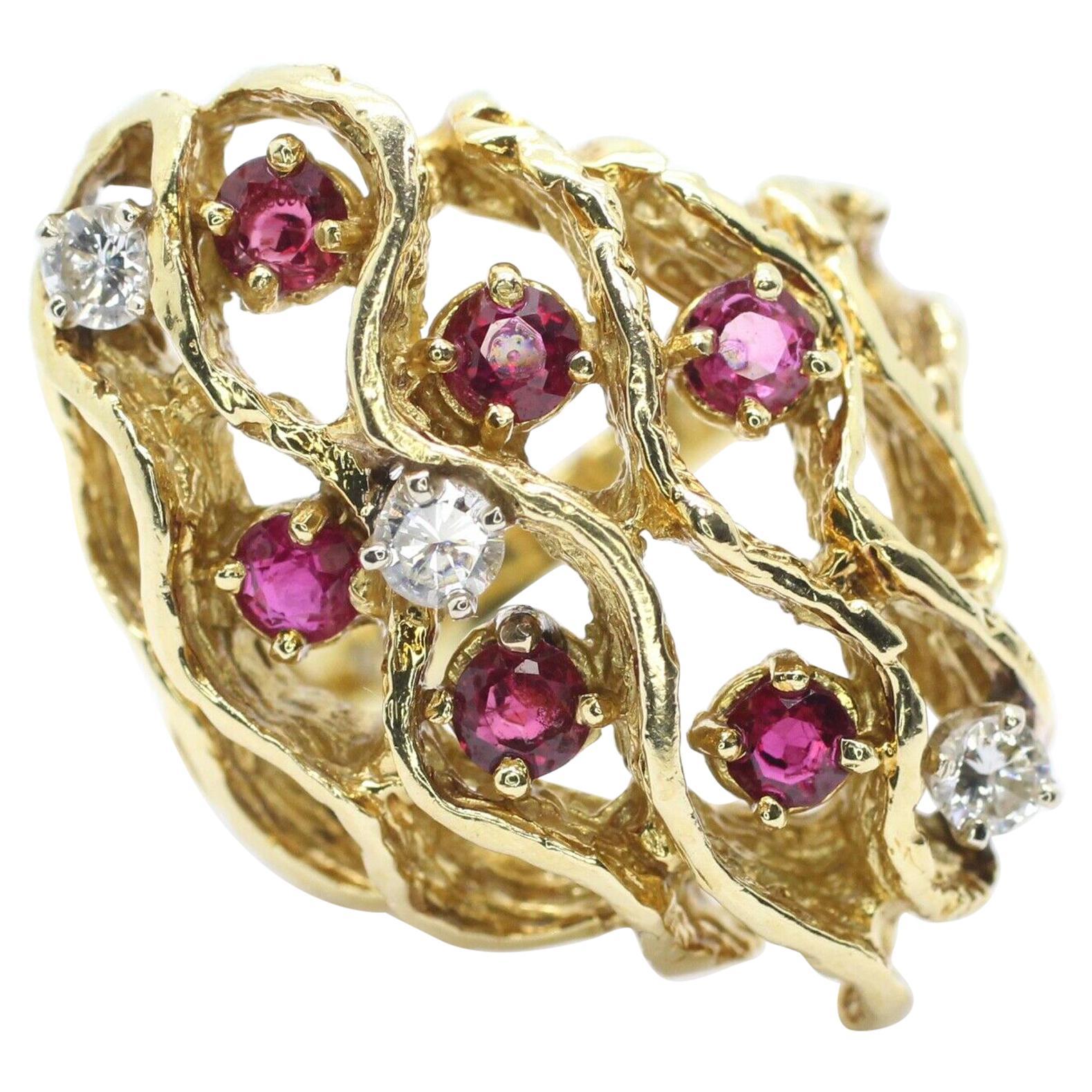 18 Karat Yellow Gold Ruby and Diamond Bark Ring
