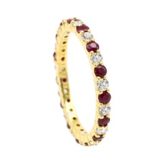 18 Karat Yellow Gold Ruby and Diamond Brilliant Cut Eternity Full Band Ring