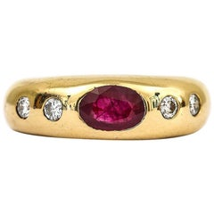 18 Karat Yellow Gold Ruby and Diamond 'Cartier' Style Gypsy Ring