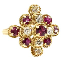 18 Karat Yellow Gold Ruby and Diamond Cluster Ring