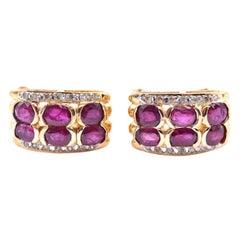 18 Karat Yellow Gold Ruby and Diamond Earrings