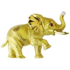 18 Karat Yellow Gold, Ruby, and Diamond Elephant Brooch