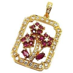 18 Karat Yellow Gold Ruby and Diamond Floral Pendant