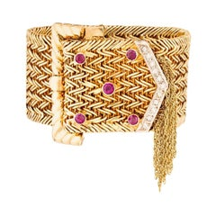 18 Karat Yellow Gold Ruby and Diamond Fringe Buckle Bracelet