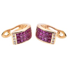 18 Karat Yellow Gold Ruby and Diamond Huggie Earrings