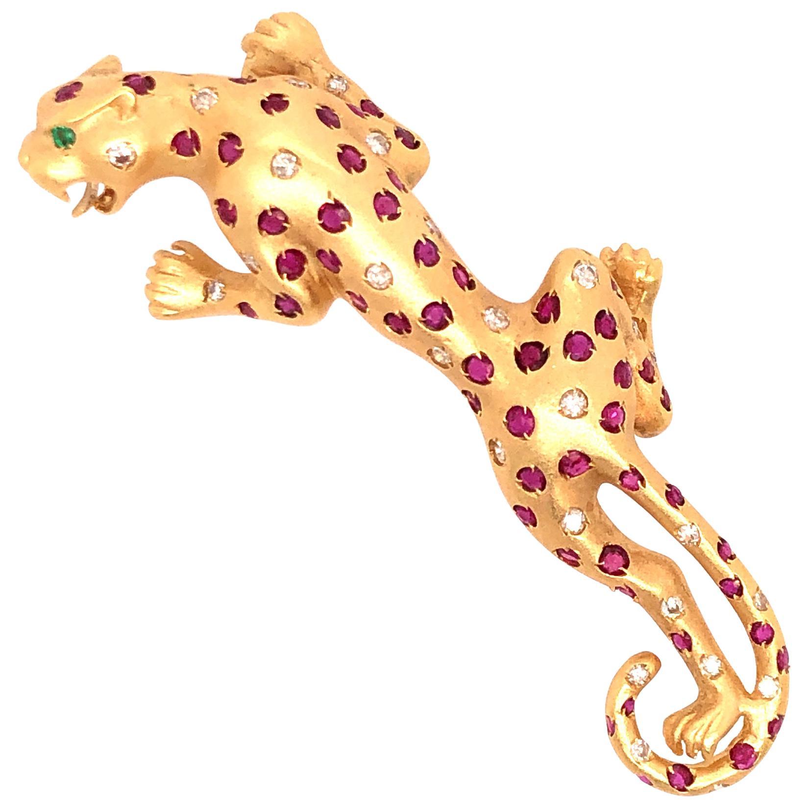 18 Karat Yellow Gold Ruby and Diamond Jaguar Pin
