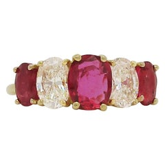 18 Karat Yellow Gold Ruby and Diamond Kurt Wayne Five-Stone Ring