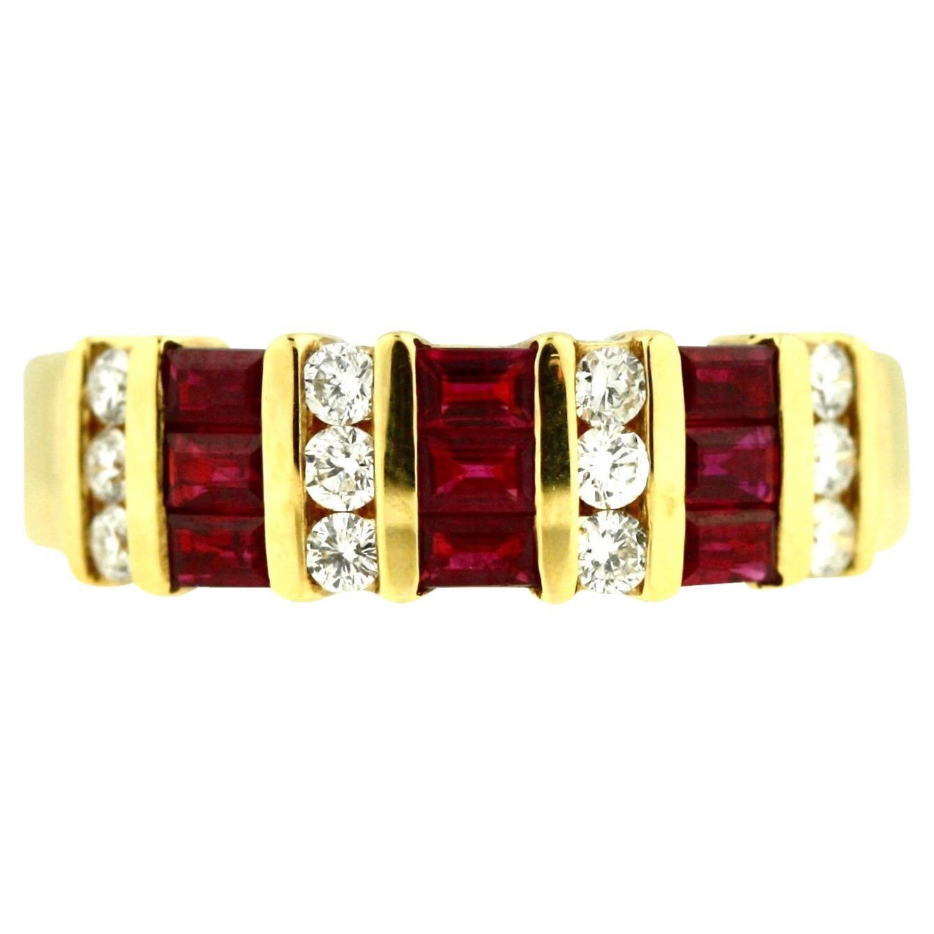 18 Karat Yellow Gold, Ruby and Diamond Ring