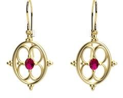 18 Karat Yellow Gold Ruby Arabesque Earrings