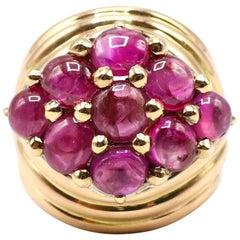 18 Karat Yellow Gold Ruby Cabochon Cluster Scalloped Dome Cocktail Ring