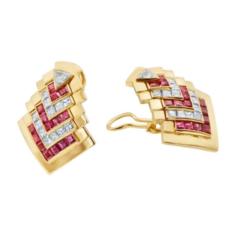 18 Karat Yellow Gold Ruby Chevron Clip-On Earrings