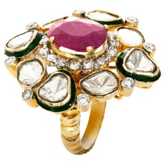 18 Karat Yellow Gold Ruby Diamond and Enamel Cocktail Ring