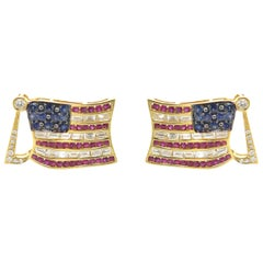 18 Karat Yellow Gold Ruby, Diamond and Sapphire Flag Cufflinks