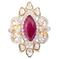 18 Karat Yellow Gold Ruby Diamond and Uncut Diamond Cocktail Ring