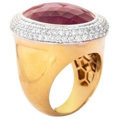18 Karat Yellow Gold Ruby Diamond Cocktail Ring
