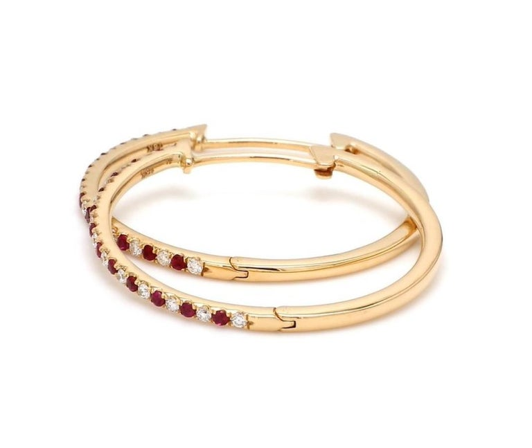 Contemporary 18 Karat Yellow Gold Ruby Diamond Hoop Earring For Sale