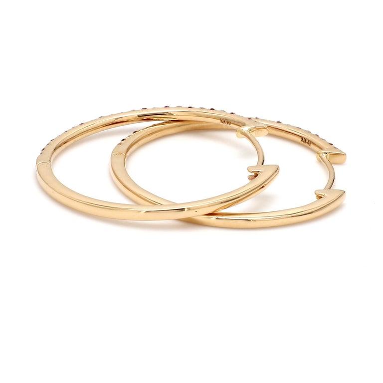 Round Cut 18 Karat Yellow Gold Ruby Diamond Hoop Earring For Sale